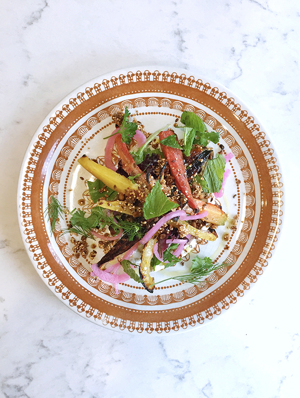 Chef Renee Lavallee will be making Roasted heirloom carrot salad with labneh, quinoa & pine nut granola, herb salad and parsley oil