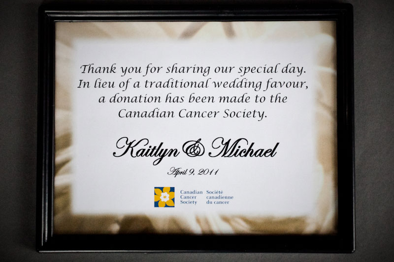 Canadian Cancer Society Wedding Celebration Program