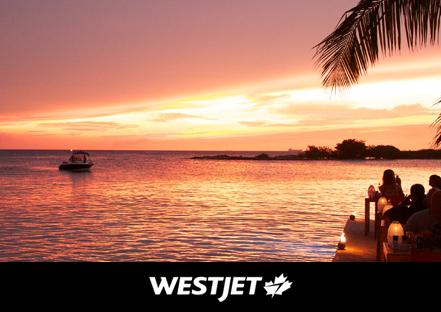 Beach Scene and WestJet Logo