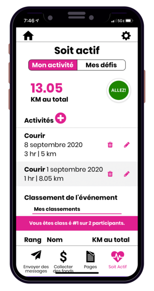 CIBC Run for the Cure App - My Activity