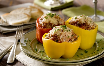Lentil Mushroom Spinach Stuffed Peppers